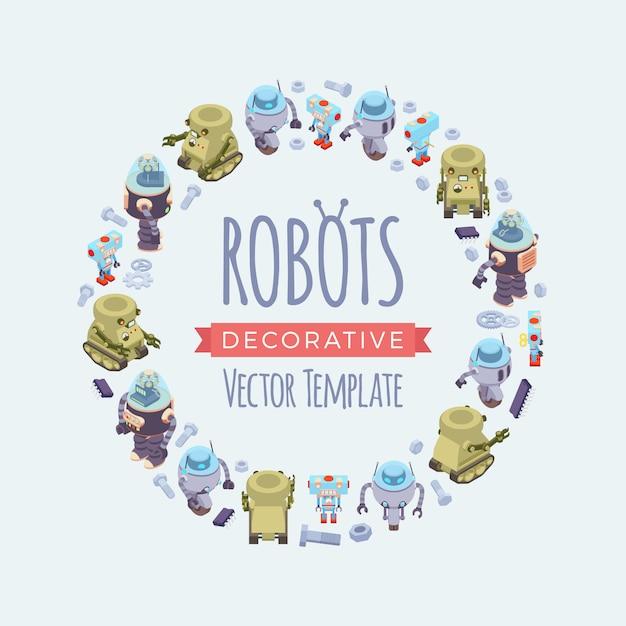 Projekt Zdobienia Wektorowego Z Robotów Premium Wektorów