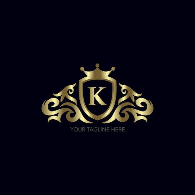 Projekt Złota Litera K. Premium Wektorów