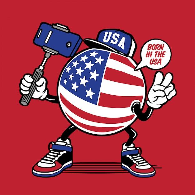 Projekt znaku selfie amerykańską flagę Premium Wektorów