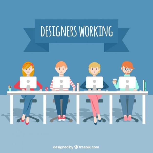 Projektanci pracujący Darmowych Wektorów