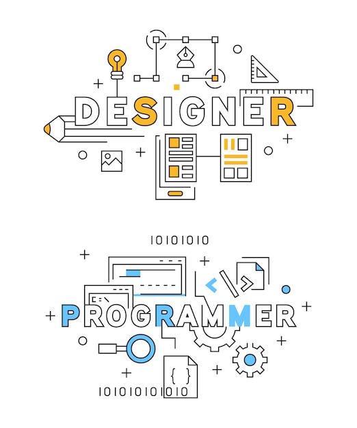 Projektant i programista flat line design w kolorze niebieskim i pomarańczowym Premium Wektorów