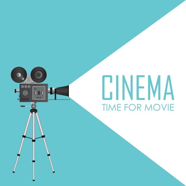 Projektor Kinowy Retro. Czas Na Ilustrację Filmu Premium Wektorów