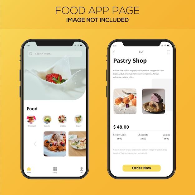 Projektowanie aplikacji do dostarczania żywności Premium Wektorów