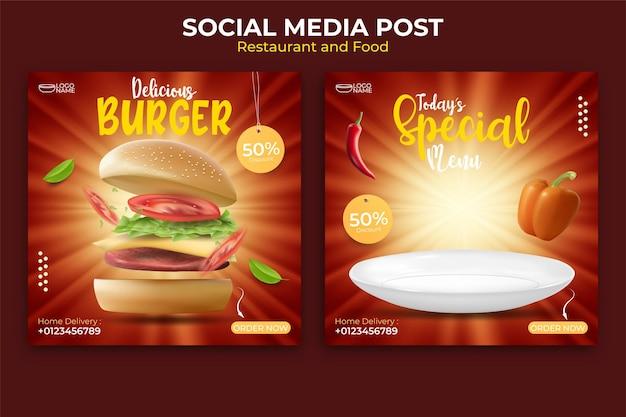 Projektowanie Banerów żywnościowych Lub Kulinarnych. Edytowalny Szablon Postów W Mediach Społecznościowych. Ilustracja Z Realistycznym Burgerem. Premium Wektorów
