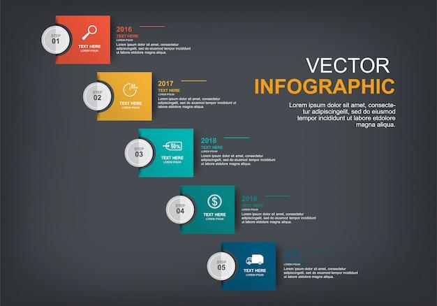 Projektowanie elementów infographic z 5 opcjami Premium Wektorów