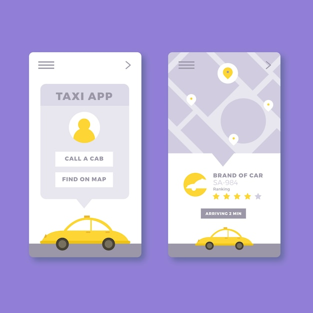 Projektowanie Interfejsu Aplikacji Taxi Darmowych Wektorów