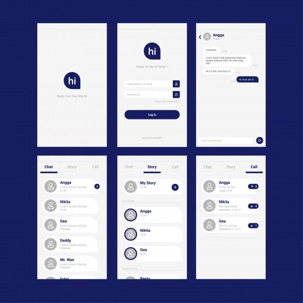 Projektowanie interfejsu użytkownika aplikacji mobilnych Premium Wektorów