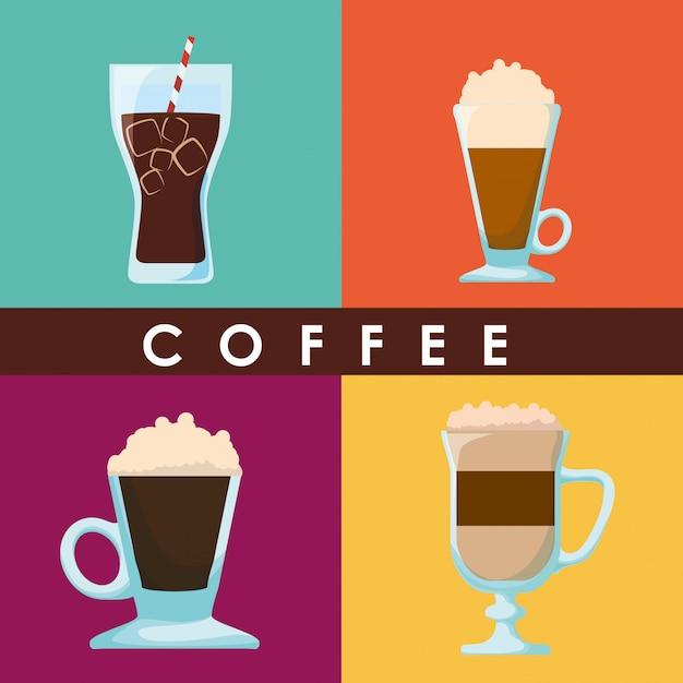 Projektowanie Kawy Premium Wektorów