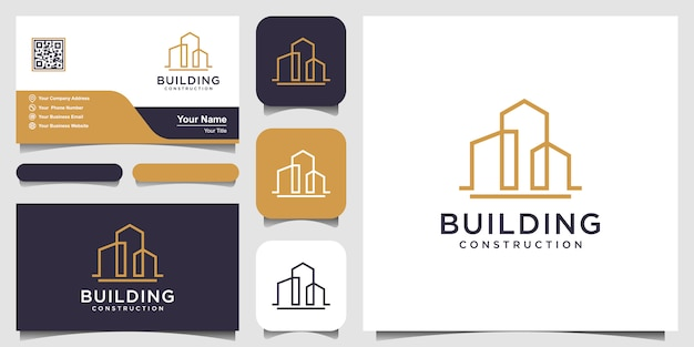 Projektowanie Logo Budowy W Stylu Grafiki Liniowej. Premium Wektorów