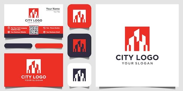 Projektowanie Logo Budowy Z Koncepcją Negatywnej Przestrzeni. Premium Wektorów