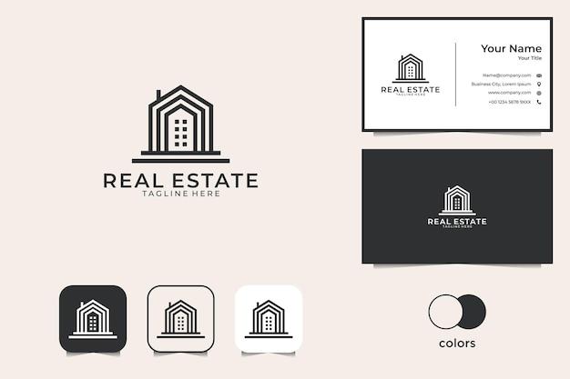 Projektowanie Logo Budynku Nieruchomości I Wizytówki Premium Wektorów