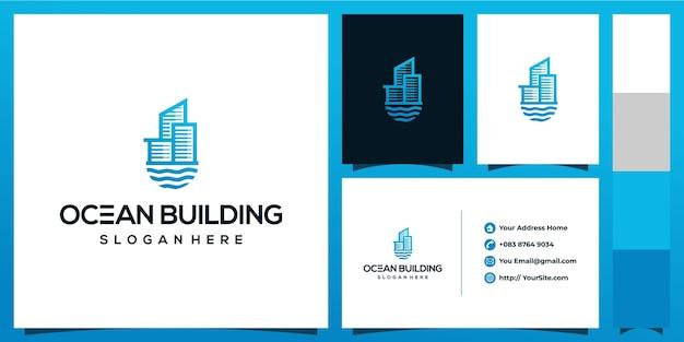 Projektowanie Logo Budynku Oceanu Z Koncepcją Wizytówki Premium Wektorów