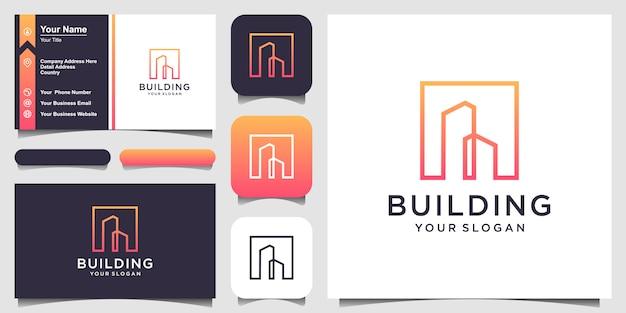 Projektowanie Logo Budynku Symbolu W Stylu Grafiki Liniowej. City Building Abstract For Logo Design Inspiracja I Projektowanie Wizytówek Premium Wektorów