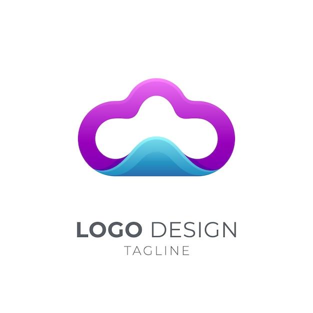 Projektowanie Logo Chmury I Fali Premium Wektorów