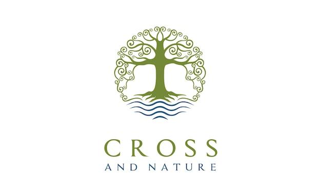 Projektowanie Logo Christian Church Natury Premium Wektorów