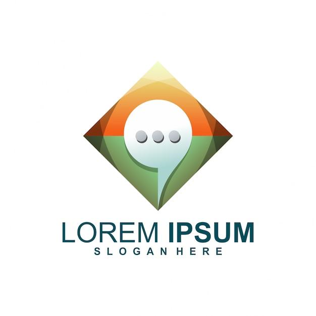 Projektowanie logo czatu Premium Wektorów