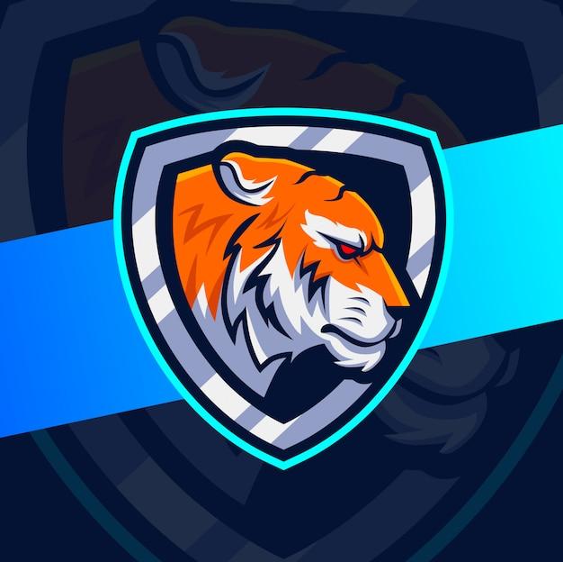 Projektowanie Logo E-sport Maskotka Głowa Tygrysa Premium Wektorów