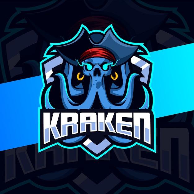 Projektowanie Logo E-sport Maskotka Kraken Czaszki Premium Wektorów