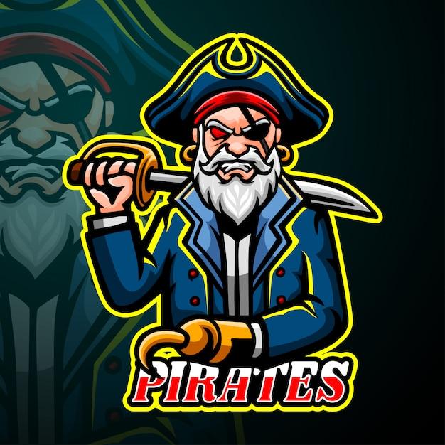 Projektowanie Logo E-sport Maskotka Piratów Premium Wektorów