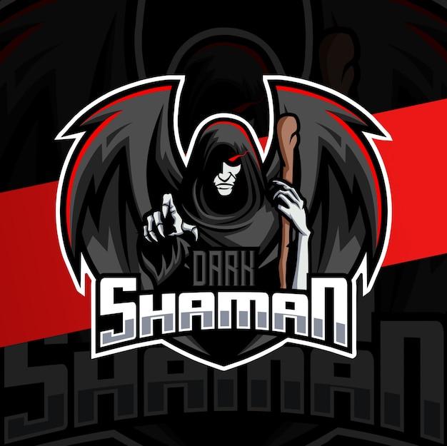 Projektowanie Logo E-sportowej Maskotki Ciemnego Szamana Premium Wektorów