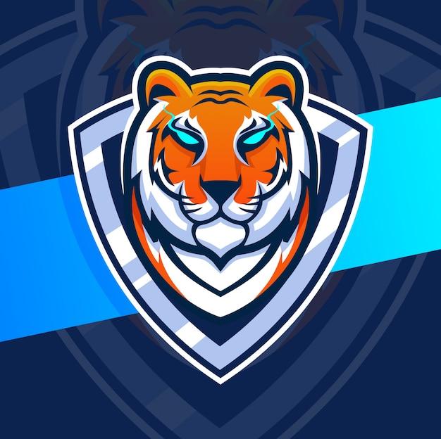 Projektowanie Logo Esport Maskotka Głowa Tygrysa Premium Wektorów