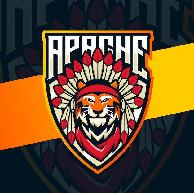 Projektowanie Logo Esport Maskotka Indiańskiego Szefa Tygrysa Premium Wektorów