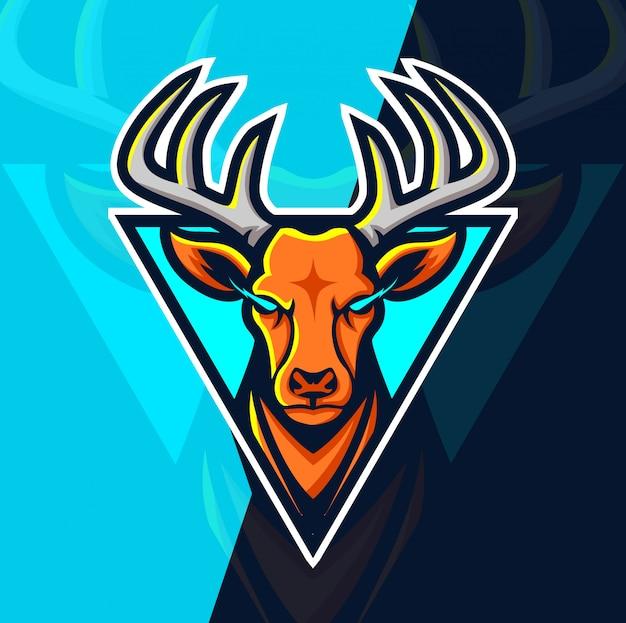 Projektowanie Logo Esport Maskotka Jelenia Premium Wektorów