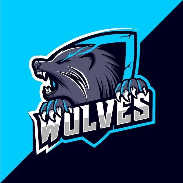 Projektowanie Logo Esport Maskotka Wilki Wilki Premium Wektorów