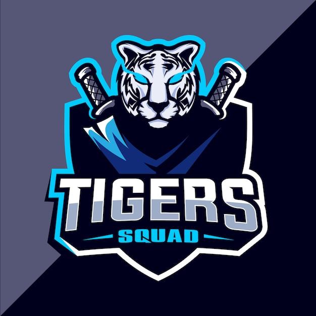 Projektowanie Logo Esport Maskotki Tygrysa Premium Wektorów