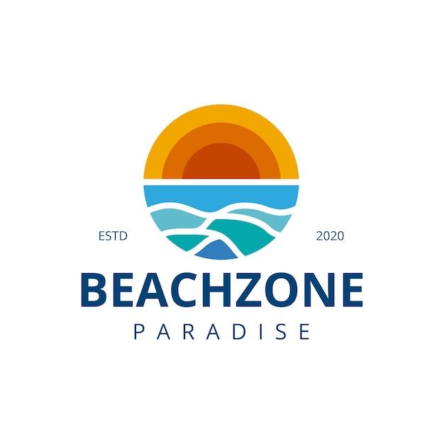 Projektowanie Logo Fale Słońca Na Plaży Premium Wektorów