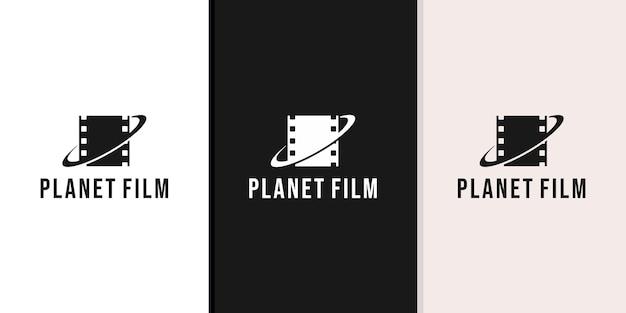 Projektowanie Logo Filmu Planety Premium Wektorów