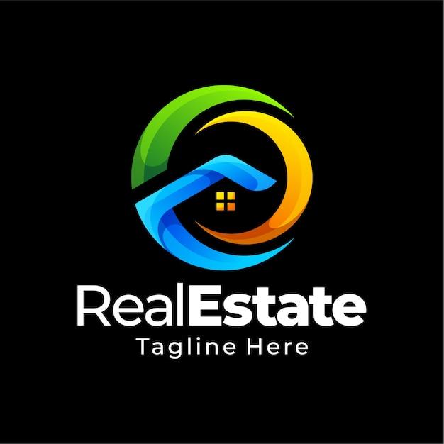 Projektowanie Logo Gradientu Nieruchomości Premium Wektorów