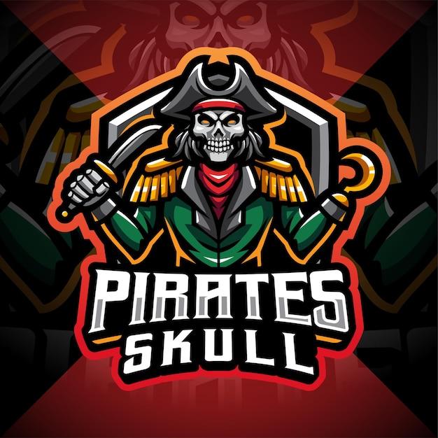 Projektowanie Logo Gry Maskotka Czaszki Piratów Premium Wektorów