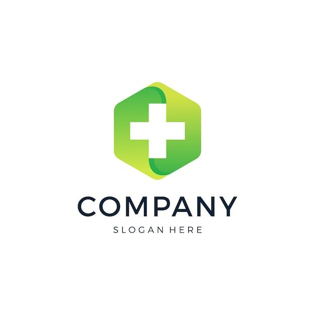 Projektowanie logo hexagon medical Premium Wektorów