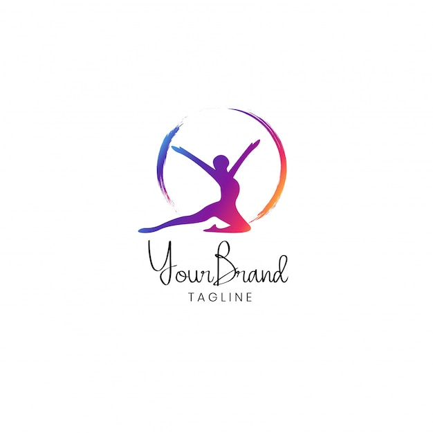 Projektowanie logo kobiet fitness Premium Wektorów