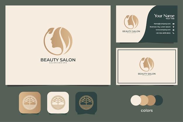 Projektowanie Logo Kobiety Uroda I Wizytówki. Dobre Wykorzystanie Do Logo Spa, Salonu I Mody Premium Wektorów