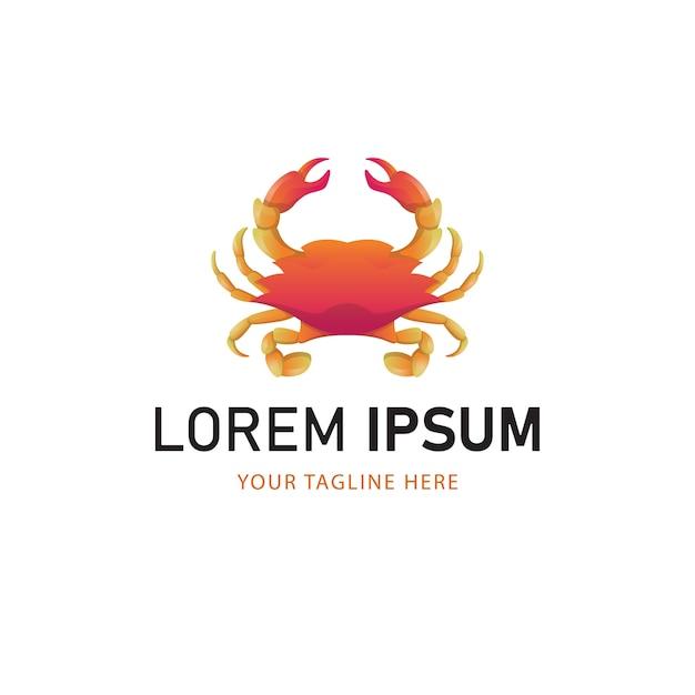 Projektowanie Logo Kolorowe Kraba. Gradientowy Styl Logo Zwierząt Premium Wektorów