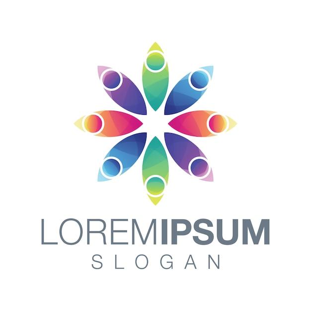 Projektowanie logo kolorowe logo osób Premium Wektorów