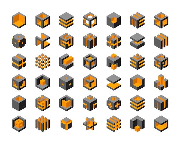 Projektowanie Logo Kostki. Kostki 3d Zestaw Elementów Graficznych Szablonu. Premium Wektorów