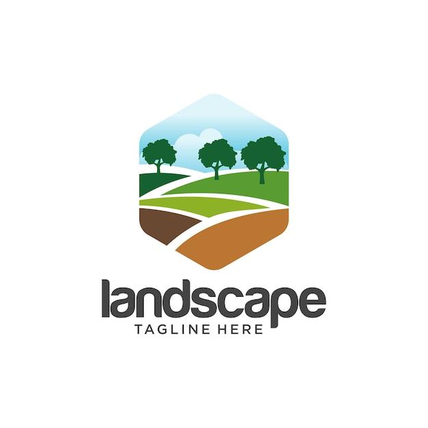 Projektowanie logo krajobrazu Premium Wektorów