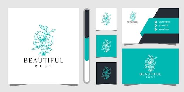 Projektowanie Logo Kwiat I Wizytówki. Premium Wektorów