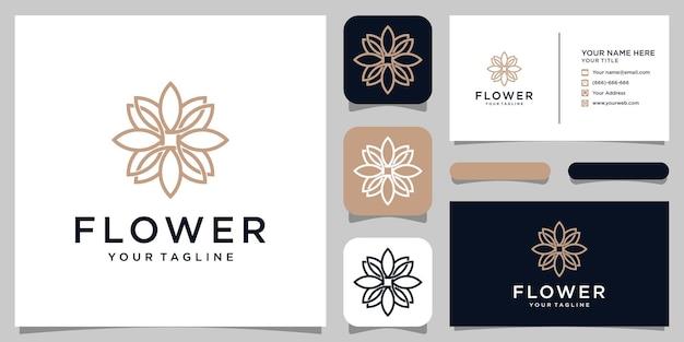 Projektowanie Logo Kwiat W Stylu Grafiki Liniowej. Logo Może Być Używane Do Spa, Salonu Piękności, Dekoracji, Butiku. I Wizytówkę Premium Wektorów
