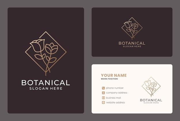 Projektowanie Logo Kwiat Z Wizytówką Premium Wektorów