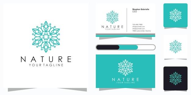 Projektowanie Logo Kwiatka Ze Stylem Grafiki Liniowej I Wizytówką Premium Wektorów