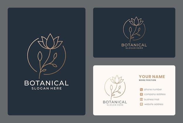 Projektowanie Logo Lineart Kwiat Z Wizytówką Premium Wektorów