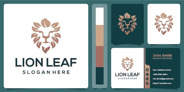 Projektowanie Logo Liść Lwa Z Szablonu Wizytówki Premium Wektorów