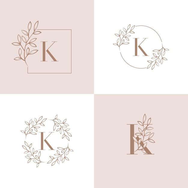 Projektowanie logo litery k z elementem liści orchidei Premium Wektorów