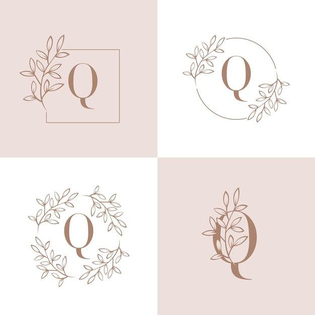 Projektowanie logo litery q z elementem liści orchidei Premium Wektorów