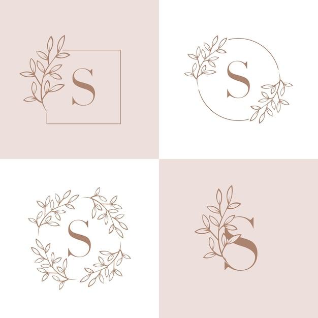 Projektowanie logo litery s z elementem liści orchidei Premium Wektorów