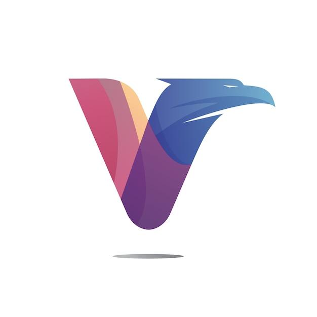 Projektowanie Logo Litery V Głowa Orła Premium Wektorów